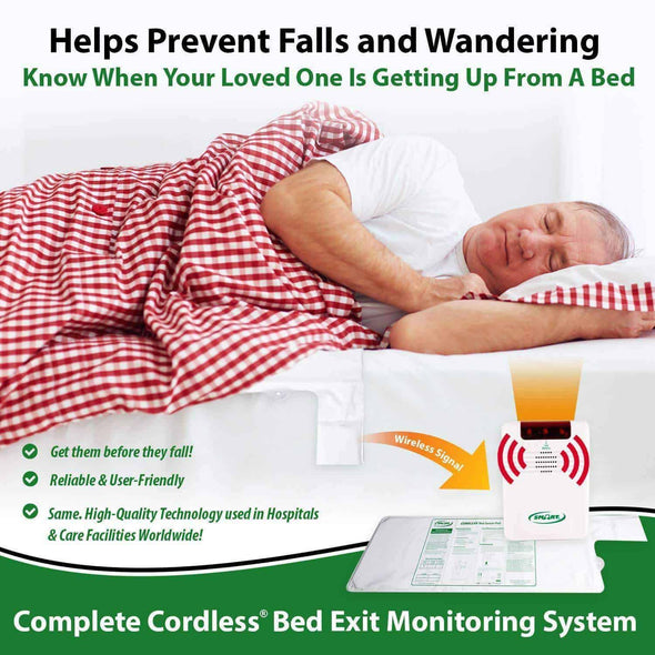 Smart Caregiver Cordless Bed Exit Monitoring System Alarm with Bed Pressure Sensing Pad - Help Prevent Falls & Wandering While Unattended - Senior.com Fall Prevention