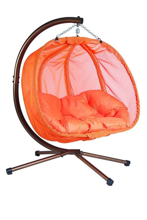 Flower House Hanging Pumpkin Loveseat Chair with Stand - Indoor & Outdoor - Senior.com Hanging Chairs