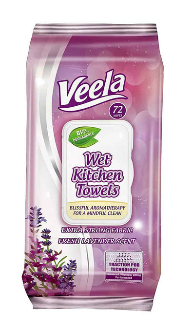 Veela Table Bussers- Biodegradable Table Turner Wet Wipes - 72 Wipes Per Pack - Senior.com Cleansing Wipes