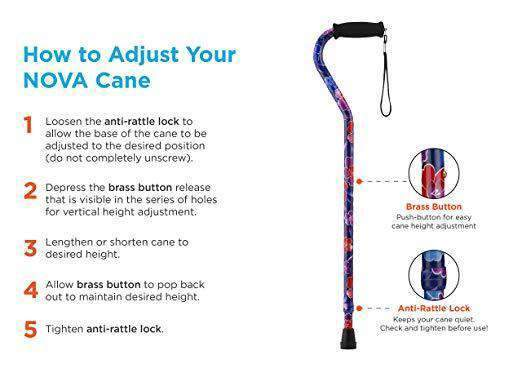 Nova Medical Lightweight Adjustable Designer Canes with Offset Handles - Senior.com Canes