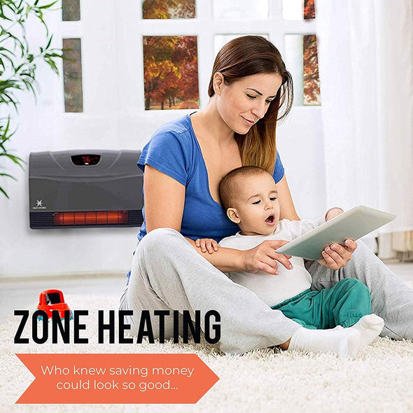 Heat Storm Phoenix Floor to Wall Infrared Space Heater with Attachable Feet, Remote Control, Energy Efficient-750-1500 Watts - Senior.com Heaters & Fireplaces