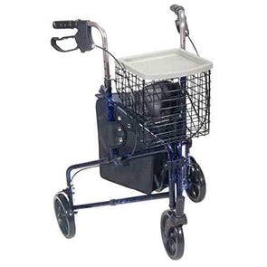 Drive Medical 3-Wheel Walker Rollator with Basket Tray and Pouch - Senior.com Rollators