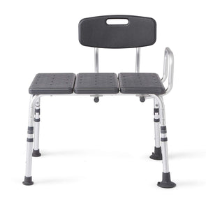 Medline Knockdown Transfer Bath Bench with Back and Microban Antimicrobial Protection - Senior.com Bath Benches & Seats