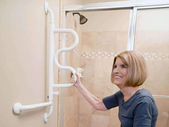 Stander The Curve Grab Bar - Pivoting Ladder Assist Handle and Wall-Mounted Bathroom Standing Mobility Aid