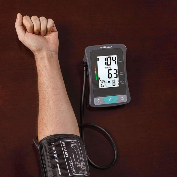 HealthSmart Blood Pressure Monitor for Upper Arm with Clinically Accurate LCD Screen - Senior.com Blood Pressure Monitors