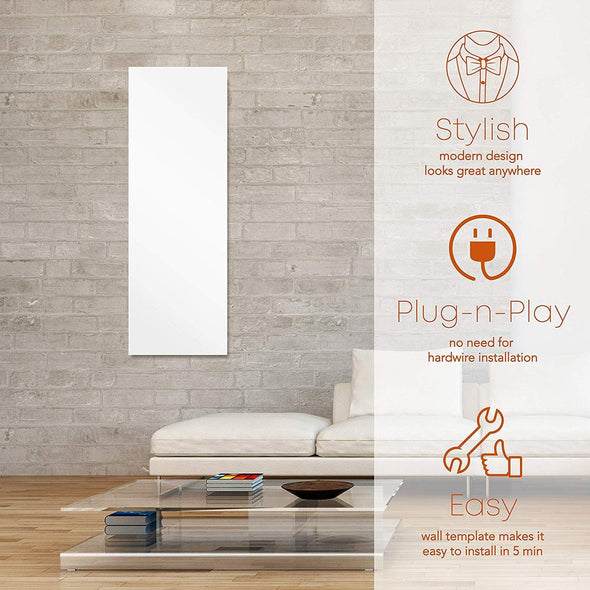 Heat Storm Signature Design Decorative Glass Panel Space Heater - Wall Mounted -24 x 48 - Senior.com Heaters & Fireplaces
