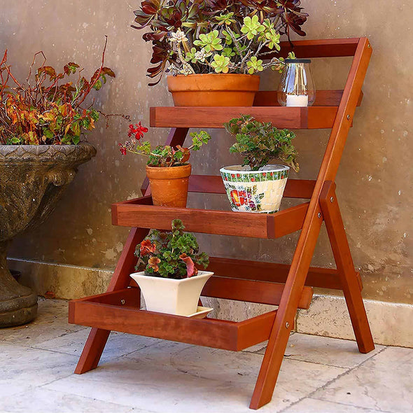 Vifah Malibu Outdoor Patio Wood Three Layer Garden Plant Stand - Senior.com Plant Stands