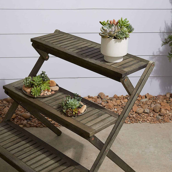 Vifah Renaissance Three-Layer Hand-Scraped Wood Plant Stand - Gray - Senior.com Plant Stands