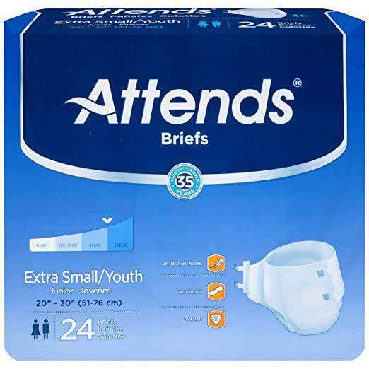 Attends Heavy Absorbency Unisex Extra Small Briefs - Case of 96 - Senior.com Incontinence