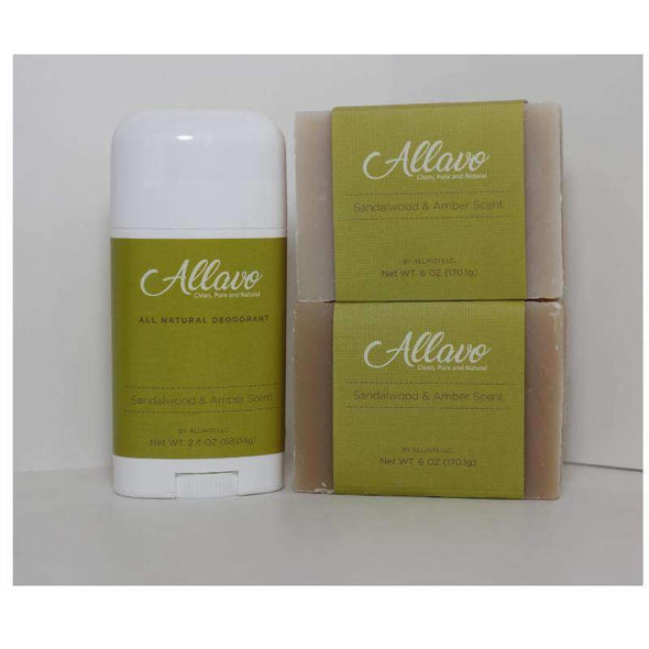 Allavo All Natural Deodorant and Bar Soap Kit - 1 Stick 2 Bars