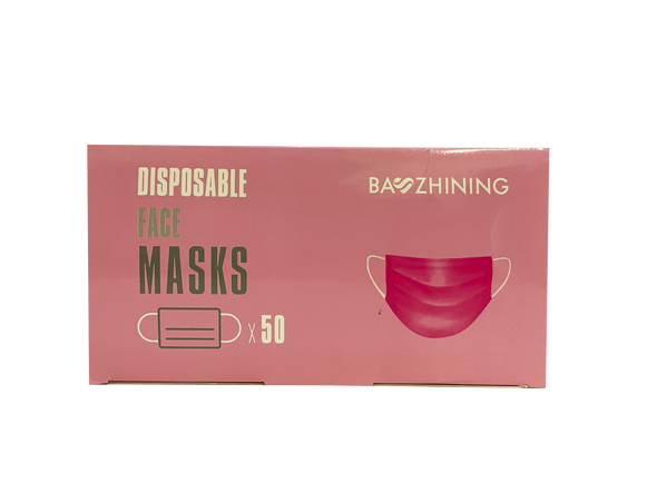 MaskWise Pink Disposable Protective 3Ply Face Masks - Box of 50 - Senior.com Surgical Style Masks