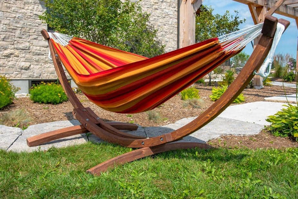 Vivere Double Sunbrella Hammock with Solid Pine Stand - Senior.com Hammocks with Stands