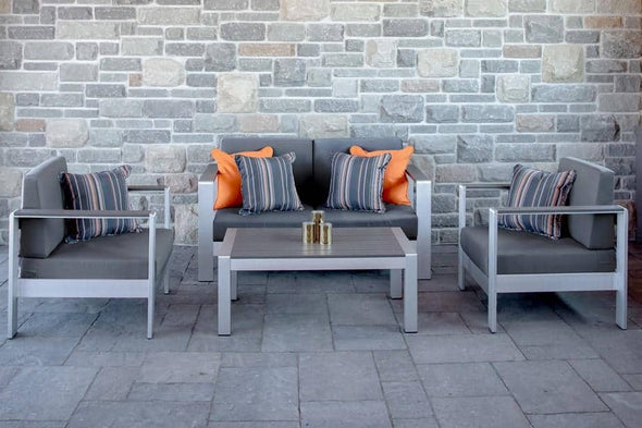 Vivere Sunbrella 4-Piece Conversation Set - Brushed Aluminum with 6 Throw Pillows - Senior.com Outdoor Furniture Sets