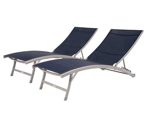 Vivere Clearwater 6 position Outdoor Aluminum Lounger 2 Piece Sets