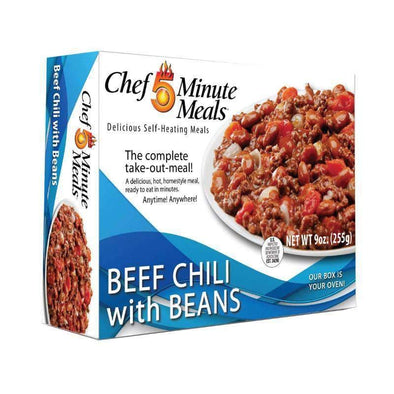 Chef 5 Minute Meals Self-Heating Boxed Meal Kit - Beef Chili with Beans - Senior.com Emergency Meals