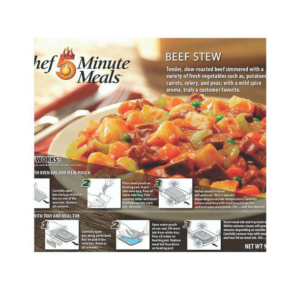 Chef 5 Minute Meals Self-Heating Boxed Meal Kit - Beef Stew - Senior.com Emergency Meals
