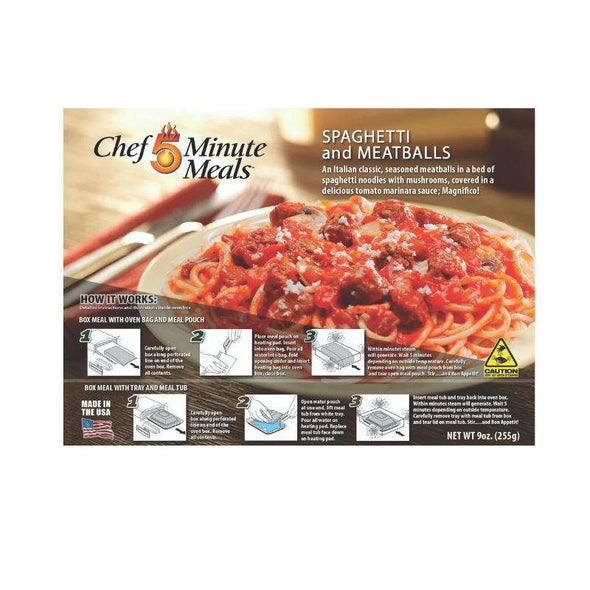 Chef 5 Minute Meals Self-Heating Boxed Meal Kit - Spaghetti & Meatballs - Senior.com Emergency Meals