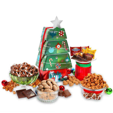Gourmet Gift Baskets Christmas Ornament Gift Tower - Senior.com Gift Baskets