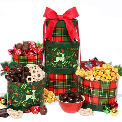 Gourmet Gift Baskets Reindeer Holiday Gift Tower - Senior.com Gift Baskets