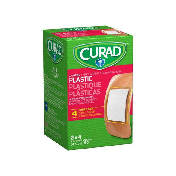 "CURAD Plastic Adhesive Bandages- 2""x4"" Box of 50"