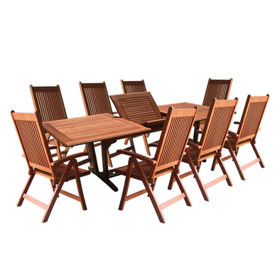 Vifah Malibu Outdoor 9-piece Wood Patio Dining Set with Extension Table & Reclining Chairs - Senior.com Patio Furniture