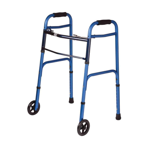 DMI Adjustable Folding Two Button Release Aluminum Walkers with Detachable Wheels - Senior.com Walkers
