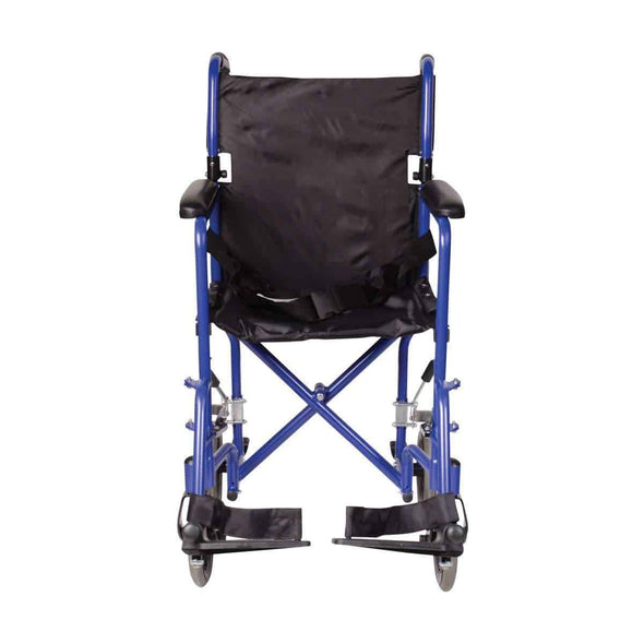 DMI Ultra Lightweight Aluminum Folding Transport Chair - Royal Blue - Senior.com Transport Chairs