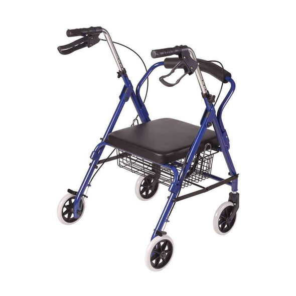 DMI Ultra Lightweight Folding Aluminum Hemi Rollators with Padded Seat & Basket - Senior.com Rollators