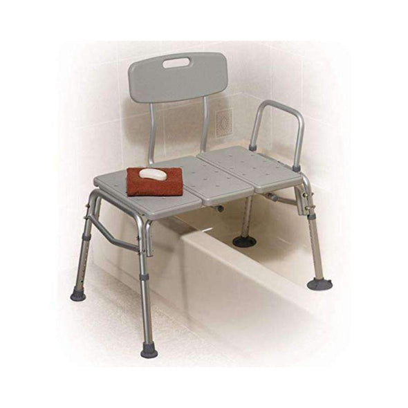 Drive Medical Plastic Tub Transfer Bench with Adjustable Backrest - Gray - Senior.com Transfer Equipment