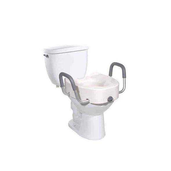 Drive Medical Premium Plastic Raised Toilet Seat with Lock and Padded Armrests Elongated - Senior.com Raised Toilet Seats