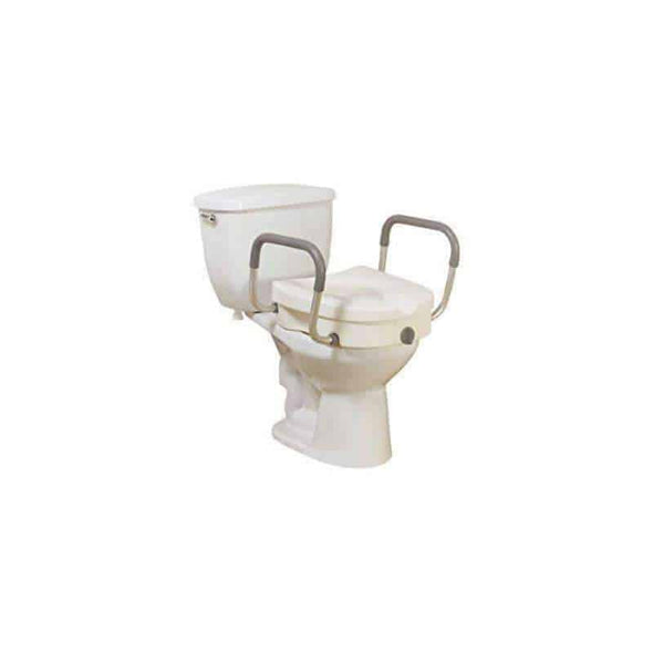 Drive Medical Raised Toilet Seat with Removable Padded Arms Standard Seat-1