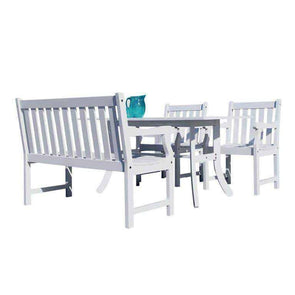 Vifah Bradley Outdoor 4-piece Wood Patio Dining Set with 4-foot Bench - White - Senior.com Patio Furniture