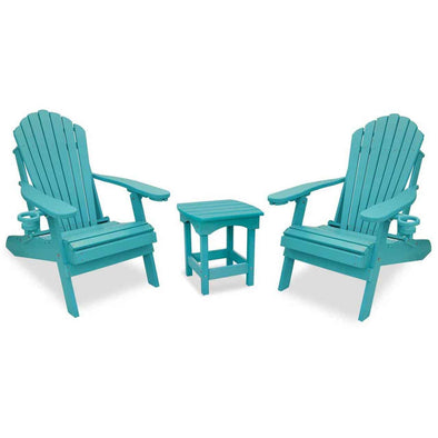 ECCB Outodor Outer Banks 3-Piece Deluxe Adirondack Chair Set with Harbor Side Table - Senior.com Adirondack Chairs