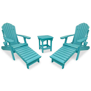 ECCB Outdoor Outer Banks 3-Piece Deluxe Adirondack Chair with Integrated Footrest Set & Harbor Side Table - Senior.com Adirondack Chairs