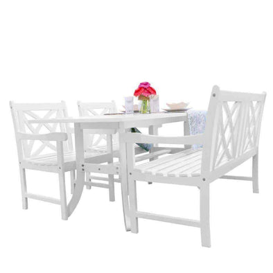 Vifah Bradley Outdoor 4-piece Wood Patio Dining Set with 4-foot Bench in White