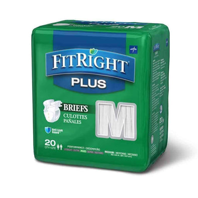 FitRight Plus Adult Diapers - Disposable Incontinence Briefs with Tabs - Moderate Absorbency