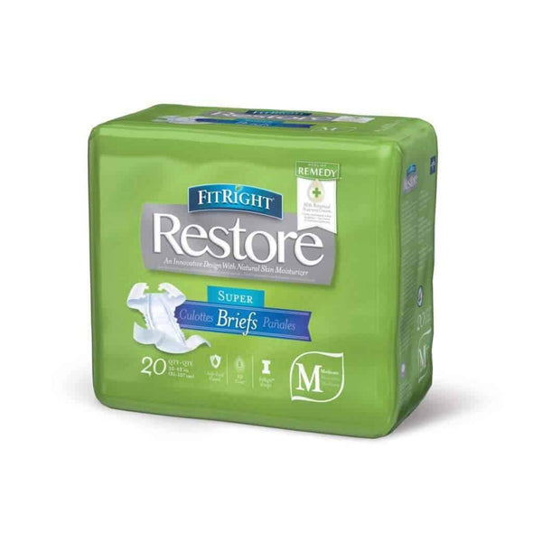 FitRight Restore Adult Unisex Briefs with Tabs - Maximum Absorbency – Case of 80 - Senior.com Incontinence