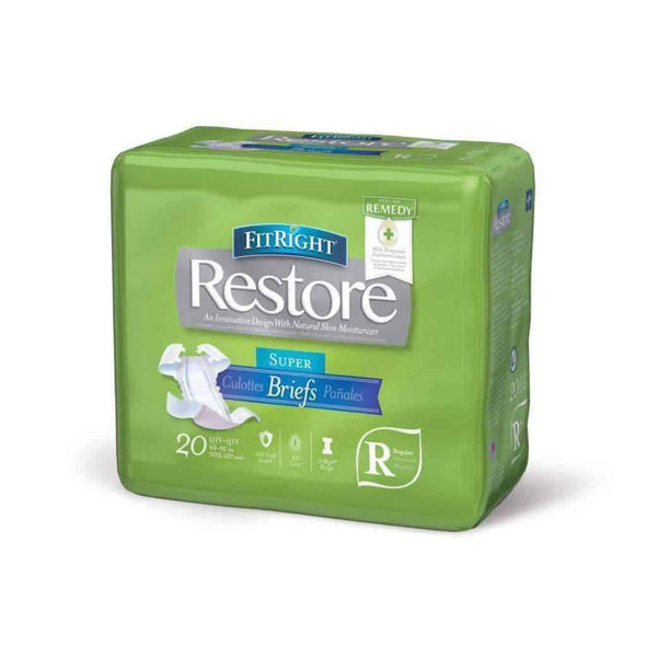 FitRight Restore Adult Unisex Briefs with Tabs - Maximum Absorbency – Case of 80