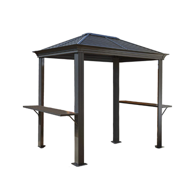 Sojag Mykonos Hardtop Grill Gazebo with Shelving Outdoor Sun Shelter - 5' x 8' - Senior.com Gazebo