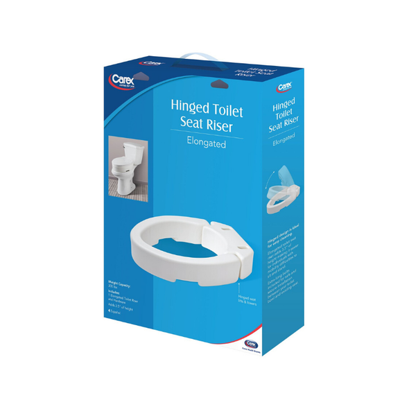 Carex Elongated Hinged Toilet Seat Riser - Adds 3.5 Inches of Toilet Lift - Senior.com Toilet Seat Risers