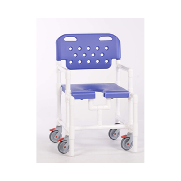 IPU Mid-Size Elite Rolling PVC Shower Chair with Commode Opening - Senior.com PVC Shower Chairs