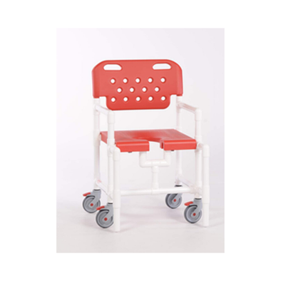 IPU Mid-Size Elite Rolling PVC Shower Chair with Commode Opening