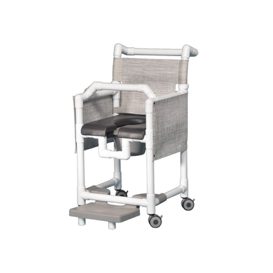 IPU Deluxe Shower Chair Commode with Lap Bar and Privacy Skirt - Senior.com PVC Shower Chairs