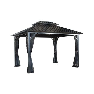 Sojag Genova II Double Roof Hardtop Gazebo - 4-Season Outdoor Sun Shelter with Mosquito Net - Senior.com Gazebo