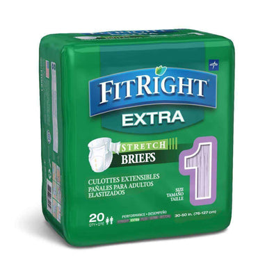FitRight Extra-Stretch Adult Briefs - Case of 80 - Senior.com Incontinence