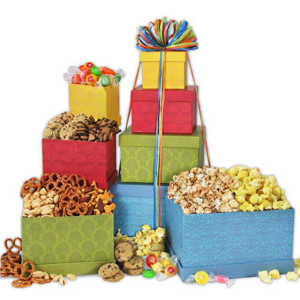 Gourmet Gift Baskets Festive Favorites Gift Tower - Senior.com Gift Baskets