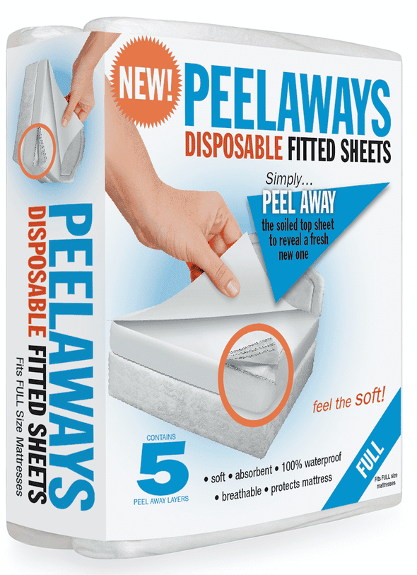 Peelaways Disposable Fitted Mattress Sheets - 5 Disposable Layers - Senior.com Underpads