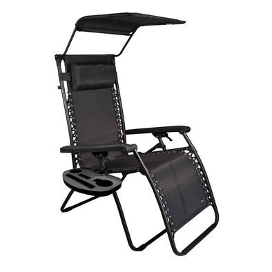 "Bliss 26"" Wide Gravity Free Recliner w/ Canopy, Pillow, & Drink Tray - Senior.com Outdoor Chairs"