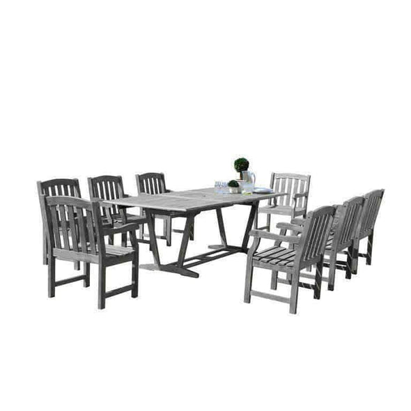 Vifah Renaissance Outdoor 9-piece Hand-scraped Wood Patio Dining Set with Extension Table - Senior.com Outdoor Dining Sets