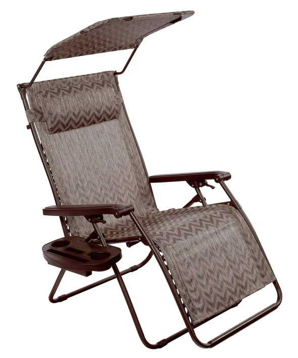 "Bliss 31"" Wide Gravity Free Recliner w/ Canopy, Pillow, & Drink Tray - Senior.com Outdoor Chairs"